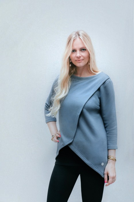 Umstands- und Stillpulli lang in goblin blue